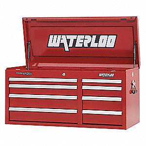 "Red Heavy Duty Top Chest, 20"" H X 40-1/2"" W X 18"" D, Number of Drawers: 8"