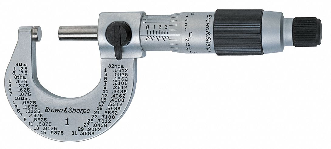 Mechanical Outside Micrometer,  Range 0 in to 1 in,  Mechanical Display Type Vernier