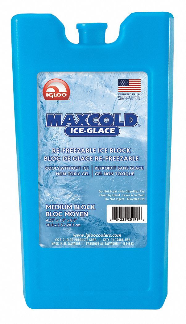 Reusable Ice Block, 7 7/8 in x 15/16 in x 4 1/4 in, Blue