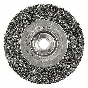 "4"" Crimped Wire Wheel Brush, Arbor Hole Mounting, 0.012"" Wire Dia., 7/8"" Bristle Trim Length, 2 PK"