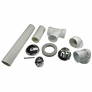 PVC Waste and One Hole Overflow Kit For Use With Bath Drain