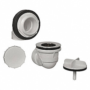PVC Waste and Overflow Half Kit, Rough In Only For Use With Bath Drain