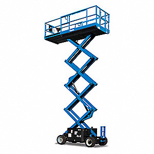Electric Scissor Lift, Yes Drive, DC Power Source, 32 ft. Max. Work Height, 1500 lb. Load Capacity