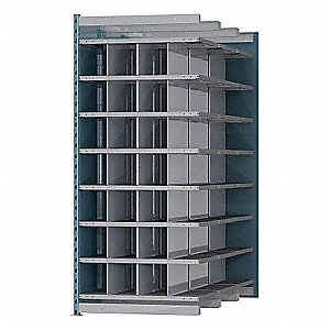 "36"" x 72"" x 87"" Add-on Pigeonhole Bin Unit, Blue Posts and Sides with Light Gray Shelves"