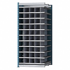 "36"" x 48"" x 87"" Add-on Pigeonhole Bin Unit, Blue Posts and Sides with Light Gray Shelves"