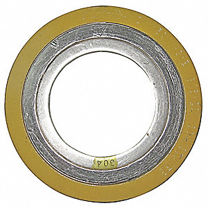 "304SS and Flexible Graphite Spiral Wound Metal Gasket, 4-3/8"" Outside Dia., Yellow Band, Gray Stripe"