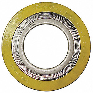 "316SS and Flexible Graphite Spiral Wound Metal Gasket, 4-3/8"" Outside Dia., Green Band, Gray Stripe"