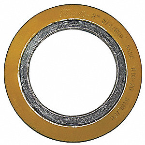"316SS and Flexible Graphite Spiral Wound Metal Gasket, 2-1/4"" Outside Dia., Green Band, Gray Stripe"