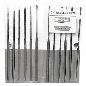 "4"" Swiss Pattern Needle File Set with Natural Finish; Number of Pieces: 12"