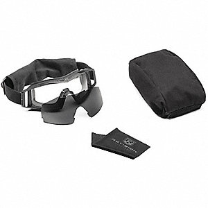 Anti-Fog, Scratch-Resistant Indirect Tactical Goggles Kit, Clear, Smoke Lens