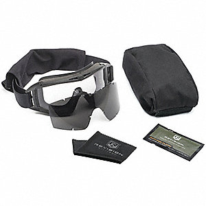 Anti-Fog, Scratch-Resistant Indirect Military Goggles Kit, Clear, Smoke Gray Lens