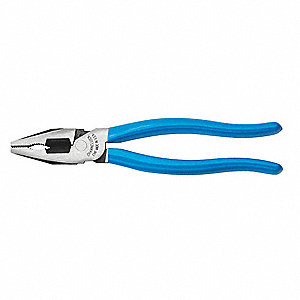 "Linemans Pliers, Jaw Length: 1-49/64"", Jaw Width: 1"", Jaw Thickness: 17/64"", Ergonomic Handle"