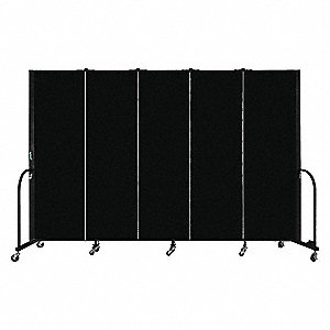 "113"" x 72"", 5-Panel Portable Room Divider, Black"
