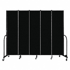 "113"" x 88"", 5-Panel Portable Room Divider, Black"