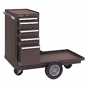 "Brown Heavy Duty Tool Cart, 36-5/8"" H X 43-1/8"" W X 20-1/4"" D, Number of Drawers: 5"