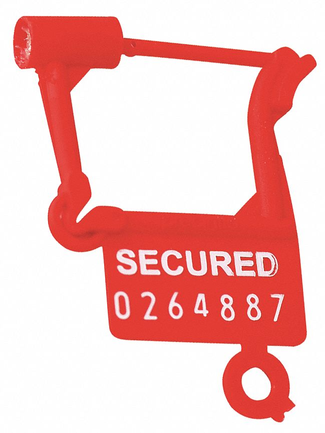 Padlock Seals,  Plastic,  Red,  PK 1000