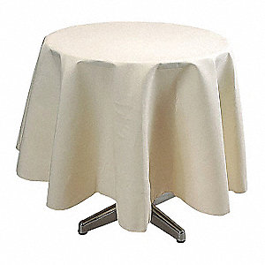 Round Polyester Tablecloth, Ivory; PK1