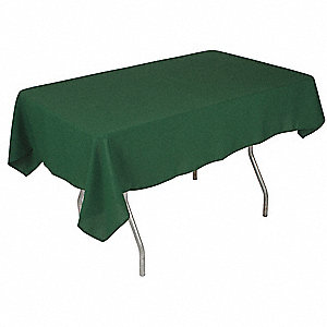 "70"" x 52"" Rectangle Polyester Tablecloth, Forest Green; PK1"
