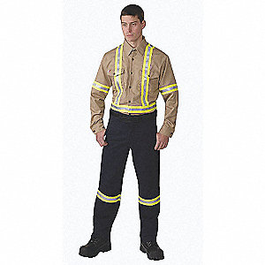 "Hi-Visibility Gray Flame-Resistant Collared Shirt, Size: XL, Fits Chest Size: 46"" to 48"", 8.7 cal./c"