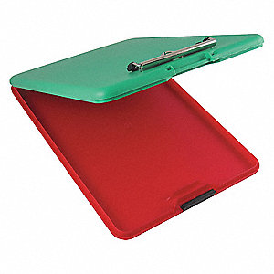 Letter-Size Portable Storage Clipboard with Wire Spring Clip, Polypropylene, Red/Green
