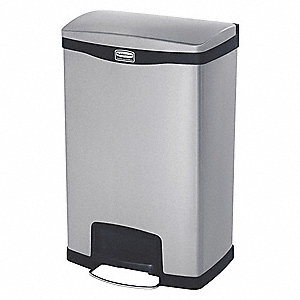 "Slim Jim® 13 gal. Rectangular Flat Top Utility Trash Can, 28-21/32""H, Black"