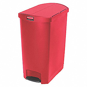 Trash Can,Rectangular,24 gal.,Red