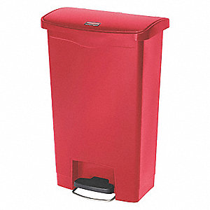 "Slim Jim® 13 gal. Rectangular Flat Top Utility Trash Can, 28-19/64""H, Red"