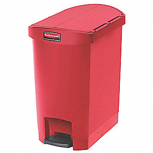 "Slim Jim® 8 gal. Rectangular Flat Top Utility Wastebasket, 22-17/64""H, Red"