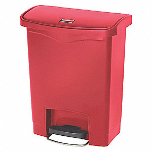 Wastebasket,Rectangular,8 gal.,Red