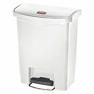 "Slim Jim® 8 gal. Rectangular Flat Wastebasket, 21-7/64""H, White"