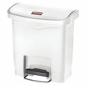 Wastebasket,Rectangular,4 gal.,White