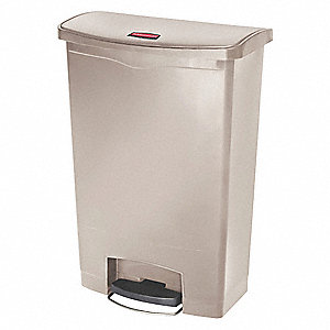Trash Can,Rectangular,24 gal.,Beige