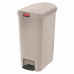 Trash Can,Rectangular,13 gal.,Beige