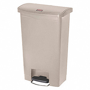 rubbermaid slim jim 13 gal rectangular flat top utility trash can 28 19 64 h beige 38uj62. Black Bedroom Furniture Sets. Home Design Ideas