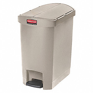 "Slim Jim® 8 gal. Rectangular Flat Top Utility Wastebasket, 22-17/64""H, Beige"