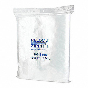 "12""L x 10""W Standard Reclosable Poly Bag with Zip Seal Closure, Clear; 2 mil Thickness"