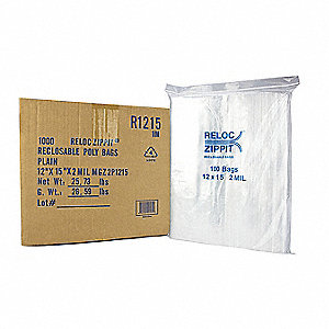 "15""L x 12""W Standard Reclosable Poly Bag with Zip Seal Closure, Clear; 2 mil Thickness"