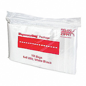 "8""L x 5""W Standard Reclosable Poly Bag with Zip Seal Closure, Clear; 2 mil Thickness"