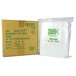 "12""L x 10""W Standard Reclosable Poly Bag with Zip Seal Closure, Clear; 4 mil Thickness"
