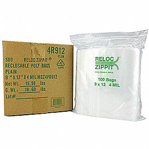 "12""L x 9""W Standard Reclosable Poly Bag with Zip Seal Closure, Clear; 4 mil Thickness"