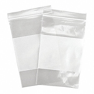 "8""L x 5""W Standard Reclosable Poly Bag with Zip Seal Closure, Clear; 4 mil Thickness"
