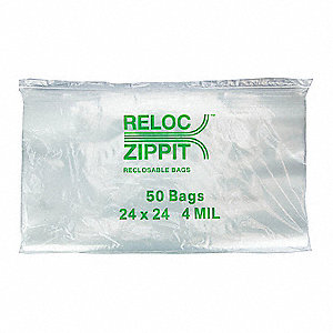 "24""L x 24""W Standard Reclosable Poly Bag with Zip Seal Closure, Clear; 4 mil Thickness"