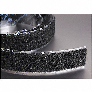 "Loop-Type Reclosable Fastener with Rubber Adhesive, Black, 2"" x 75 ft., 1EA"