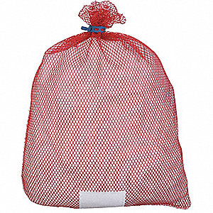 "Heavy Weight Polyester, Rubber Closure Mesh Laundry Bag, 36"" L X 24"" W, Red"