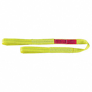 14 ft. Heavy-Duty Polyester Flat Eye and Eye Web Sling with 6400 lb. Vertical Hitch Capacity, Yellow