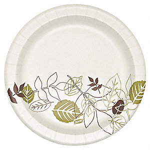 "8-1/2"" Round Disposable Plate, White/Brown/Green&#x3b; PK1000"