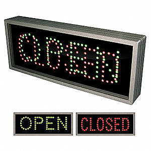 Open/Closed LED Parking Sign, Green/Red LED Color, Power Requirements: 120V