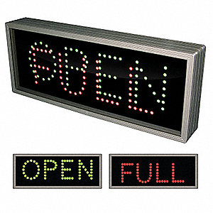Open/Full LED Parking Sign, Green/Red LED Color, Power Requirements: 120V