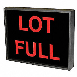 Lot Full LED Backlit Blankout Parking Sign, Red LED Color, Power Requirements: 120V