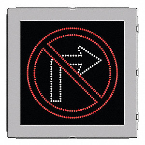 No Right Turn LED Compliant Regulatory Traffic Sign, Red/White LED Color, Power Requirements: 120V